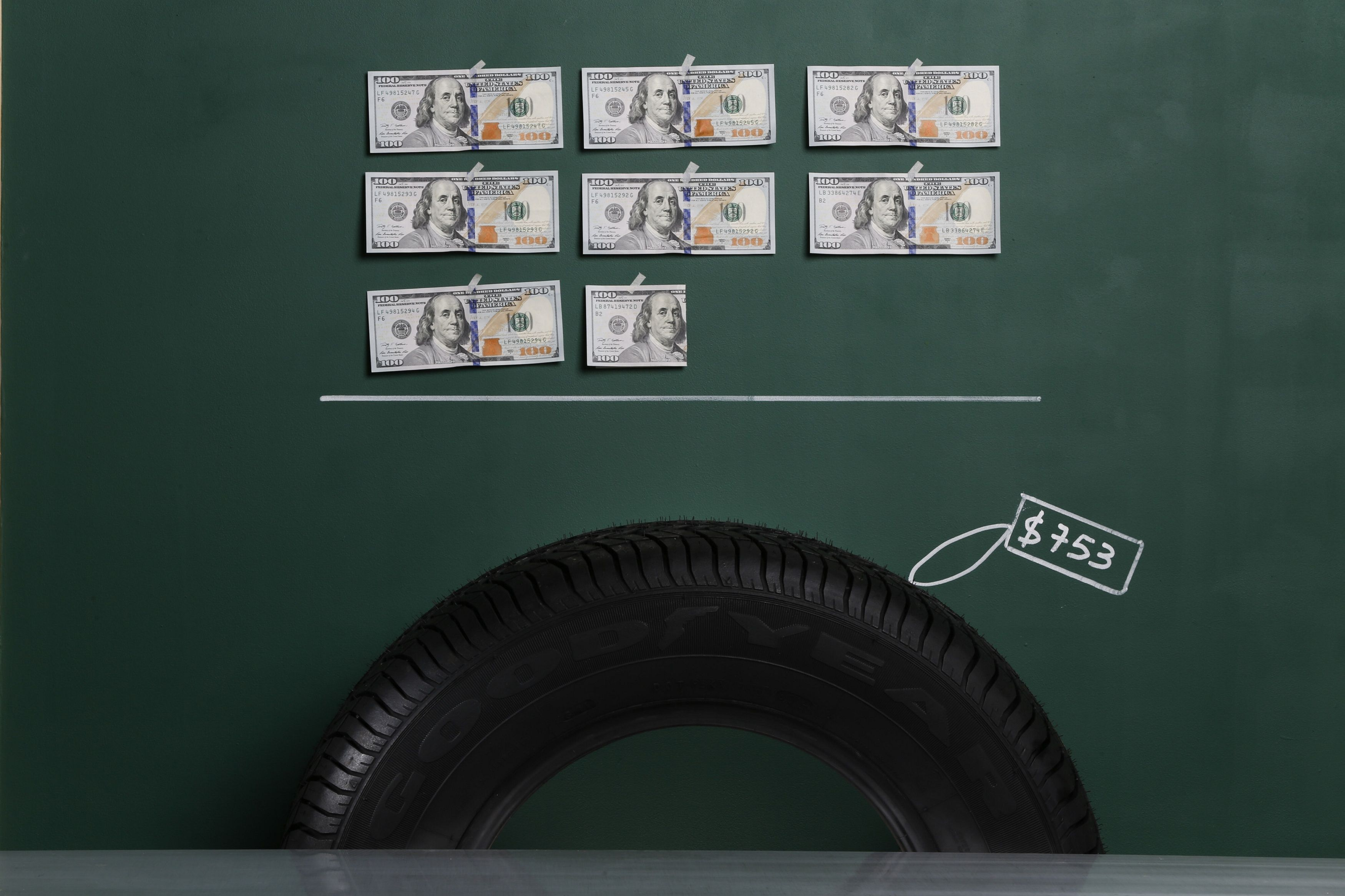 A Goodyear brand automobile tyre as photographed with an illustrative price tag of $753 in Caracas