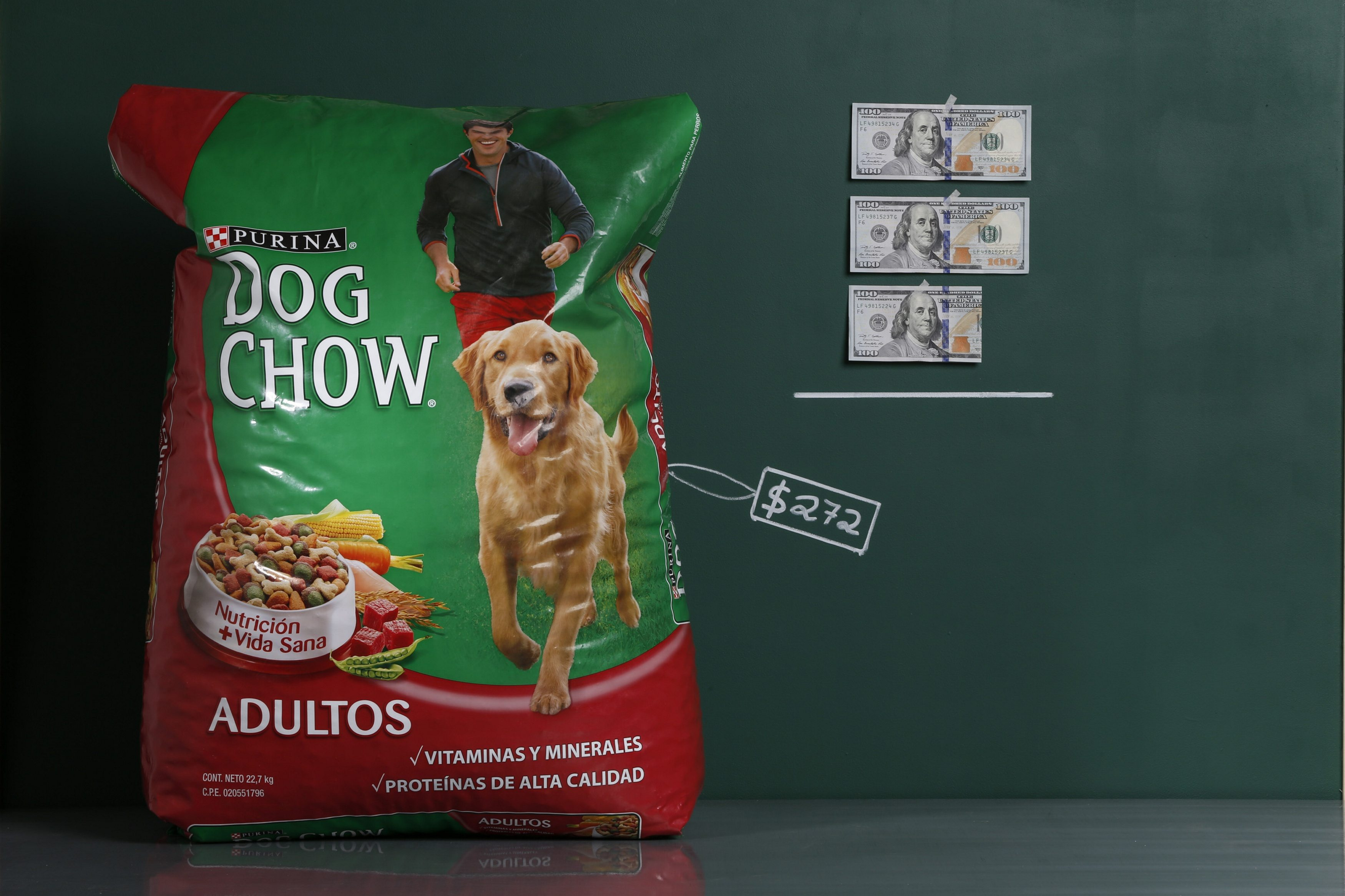 A 50 lb. (22.7 kg) bag of Purina Dog Chow as photographed with an illustrative price tag of $272 in Caracas