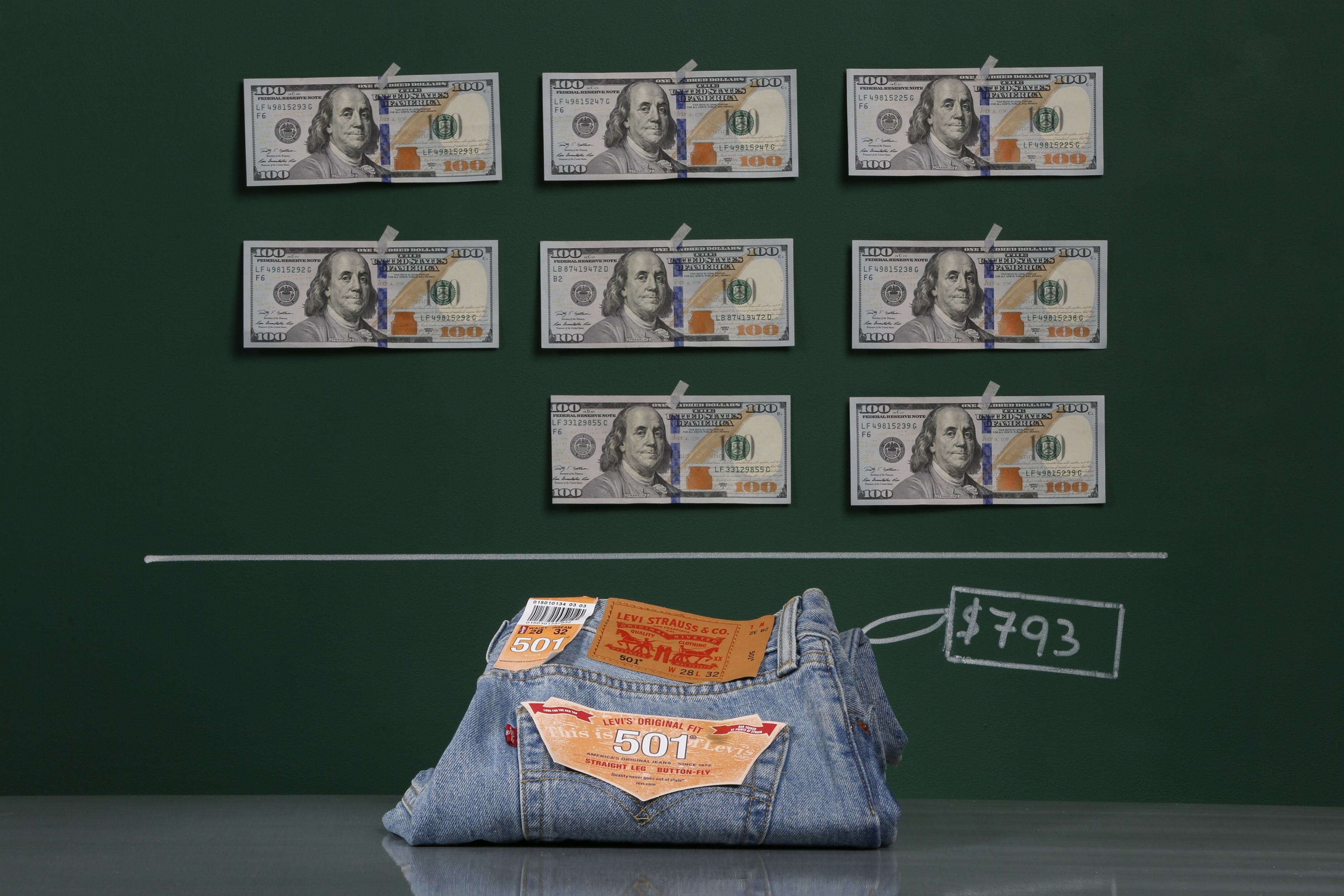 A pair of Levi's 501 jeans as photographed with an illustrative price tag of $793 in Caracas