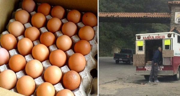 ¡SOLO EN VENEZUELA! En El Junquito usan una ambulancia para vender huevos