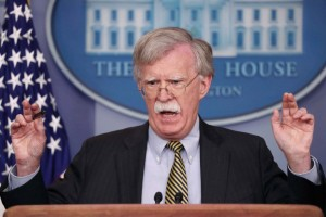 FILE PHOTO: U.S. National Security Advisor Bolton speaks to reporters about Palestine in the White House briefing room in Washington