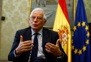 Spain's Foreign Minister Josep Borrell talks during an interview commenting on the possible Brexit extension, in Madrid