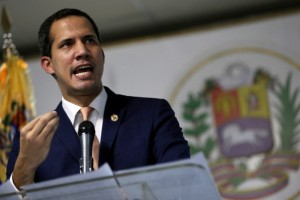 Venezuelan opposition leader Juan Guaido, takes part in a news conference in Caracas