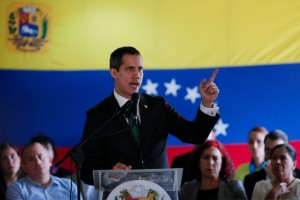 Venezuelan opposition leader Juan Guaido, who many nations have recognised as the country's rightful interim ruler, speaks during conference in Caracas